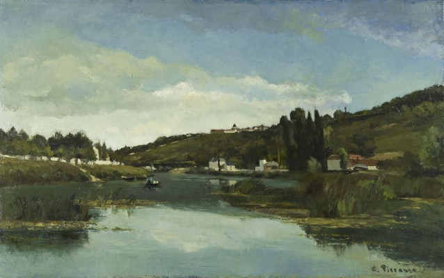 Camille Pissarro, The Marne at Chennevières, ca.1864–1865. Oil on canvas. Scottish National Gallery
