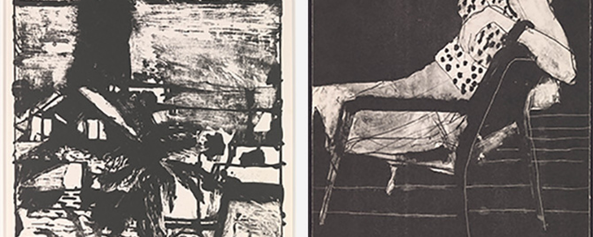 L: Richard Diebenkorn, Seascape, 1962. Lithograph. FAMSF, Foundation purchase, Phyllis C. Wattis Fund for Major Accessions. © 2015 The Richard Diebenkorn Foundation; R: Richard Diebenkorn, Seated Woman Wearing Polka-Dot Blouse, 1967. Lithograph. FAMSF, Foundation purchase, Phyllis C. Wattis Fund for Major Accessions. © 2015 The Richard Diebenkorn Foundation