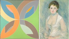 L: Frank Stella, Flin Flon IV, 1969. Polymer and fluorescent polymer paint on canvas. National Gallery of Art, Washington, collection of Robert and Jane Meyerhoff. R: Auguste Renoir, Madame Henriot, c. 1876. Oil on canvas. National Gallery of Art, Washington, gift of the Adele