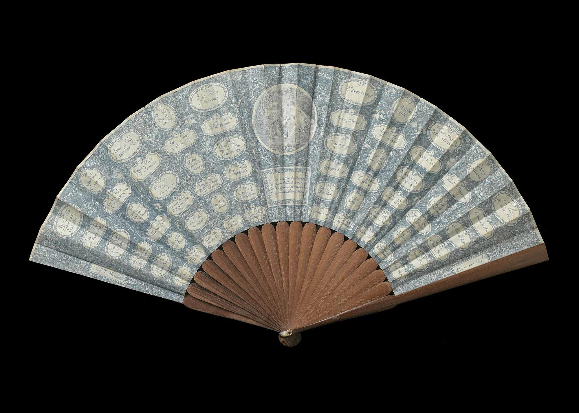 """Amorous question and answer game"" fan, ca. 1795"