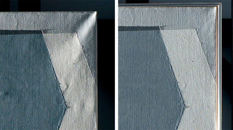 Corner tension of Balcomb Greene's painting Six-Sided Planes before and after treatment