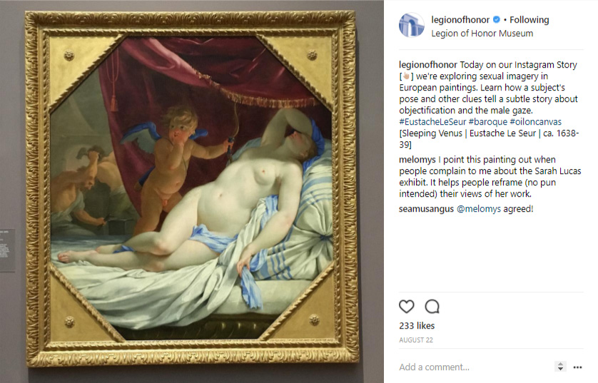 """Instagram post for the """"Let's Talk about Sex"""" campaign for the exhibition """"Sarah Lucas: Good Muse"""" at the Legion of Honor museum"""