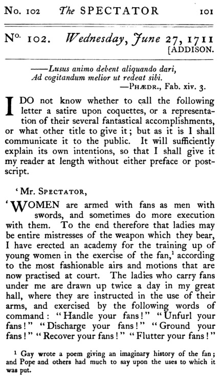 "Excerpt from the English daily ""The Spectator"", no. 102, June, 27, 1711"