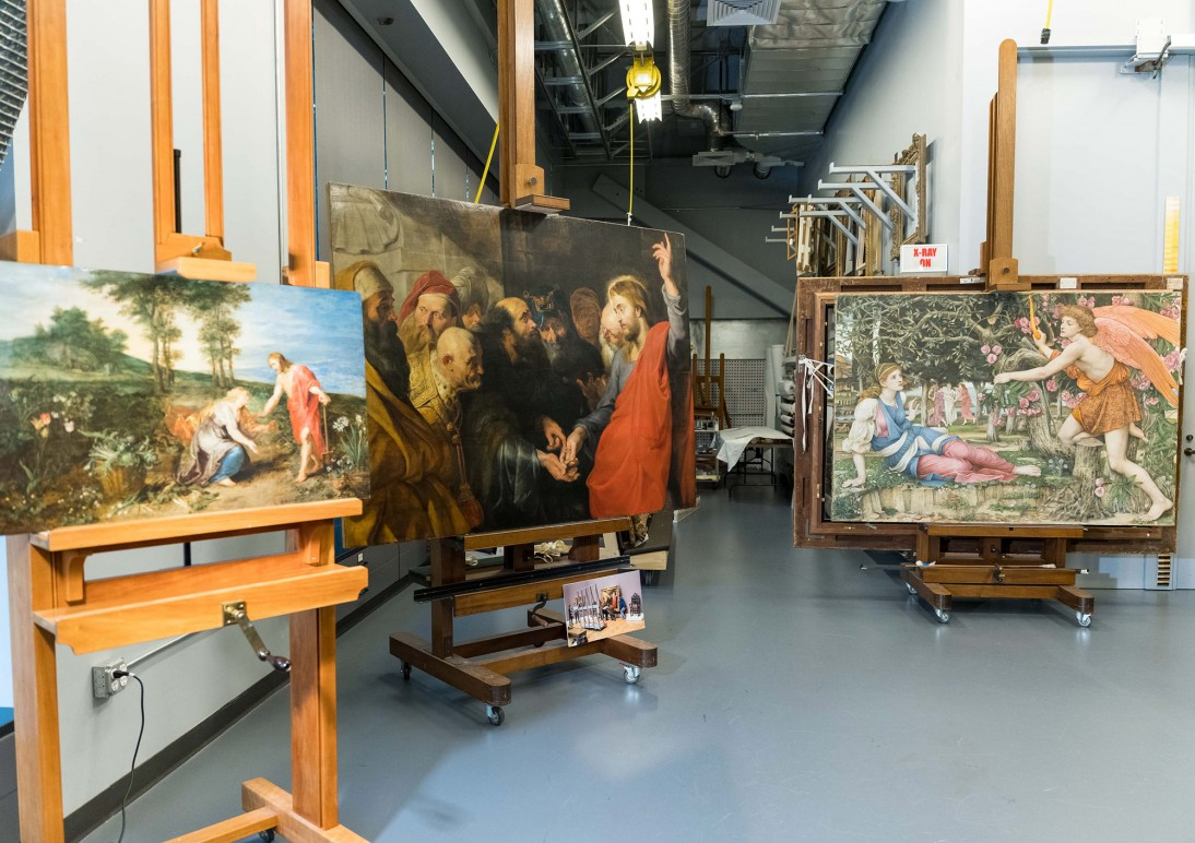 "Peter Paul Rubens ""The Tribute Money"" (ca. 1612) undergoing study in the Museum's conservation labs"