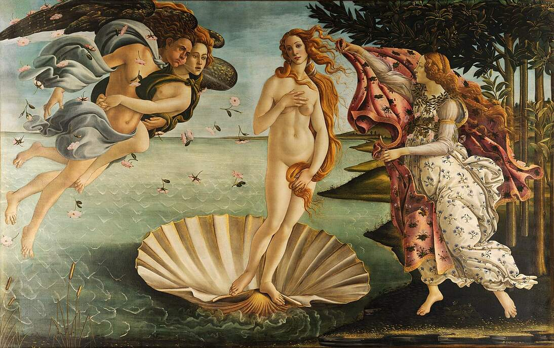 "Sandro Botticelli, ""Birth of Venus,"" ca. 1485. Tempera on canvas, 67 7/8 x 109 5/8 in. (172.5 x 278.5 cm). The Uffizi Collection, Inv. 1890 no. 878. Image courtesy of Wikimedia"