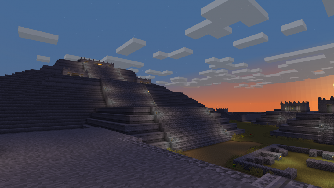 Depiction of the Moon Pyramid and complex in the de Young's Teotihuacan Minecraft map