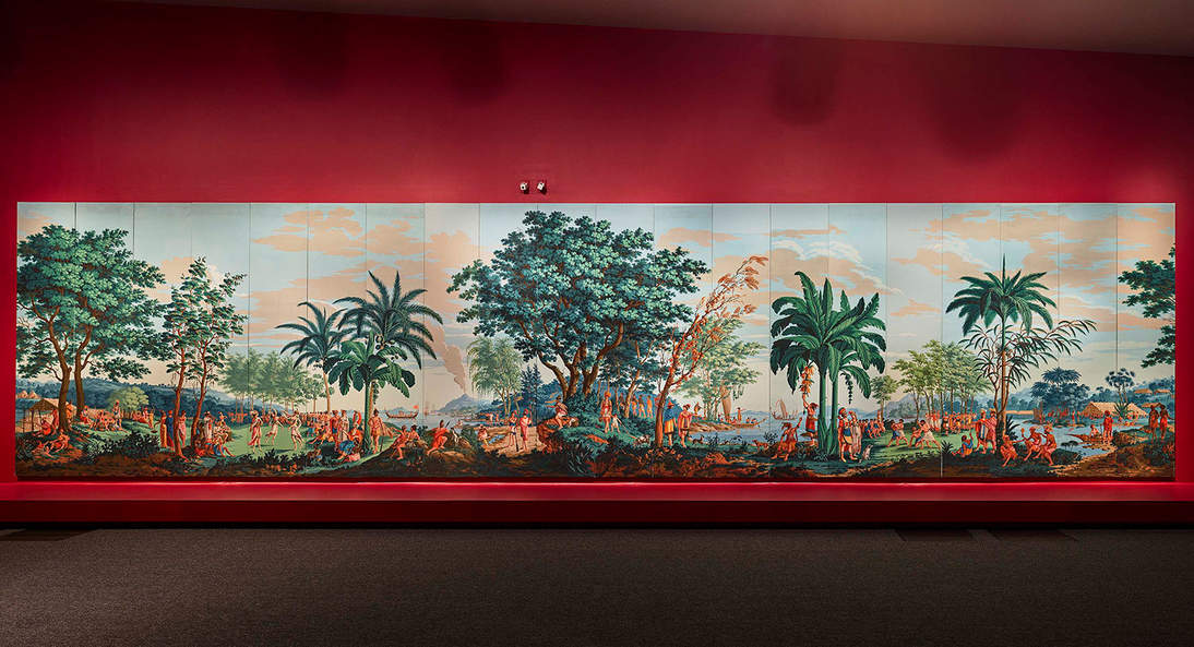 """Installation view of """"Les Sauvages de la Mer Pacifique"""" in """"Lisa Reihana: in Pursuit of Venus [infected]"""" at the de Young museum"""