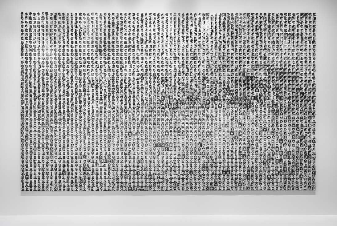 "Trevor Paglen, ""They Took the Faces from the Accused and the Dead . . .(SD18),"" 2020. 3,240 silver gelatin prints and pins; dimensions variable. Courtesy of the artist and Altman Siegel, San Francisco"