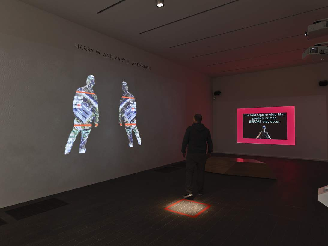 """Lynn Hershman Leeson, """"Shadow Stalker,"""" 2019. Installation view from """"Uncanny Valley: Being Human in the Age of AI."""""""