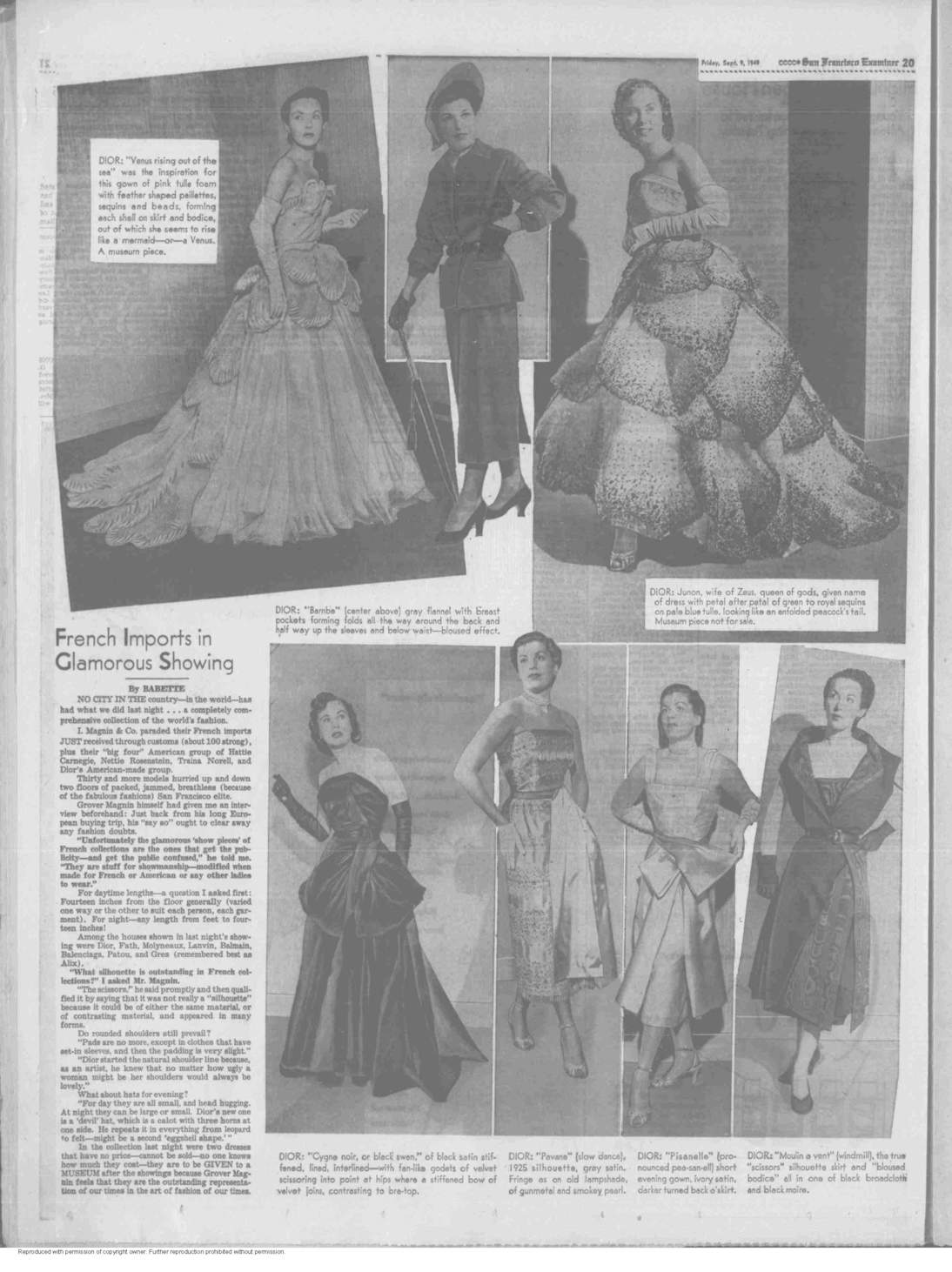 """""""Junon"""" and """"Venus"""" appear in """"The San Francisco Examiner"""" in a spread dated September 9, 1949."""