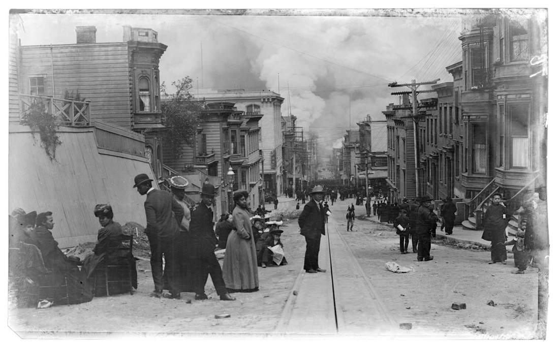 """Arnold Genthe, """"Untitled (Street scene of people watching approaching fire)"""", 1906. Cellulose nitrate negative (far above) and test print (above). Fine Arts Museums of San Francisco, Museum purchase, James D. Phelan Bequest Fund. 1943.407.19"""