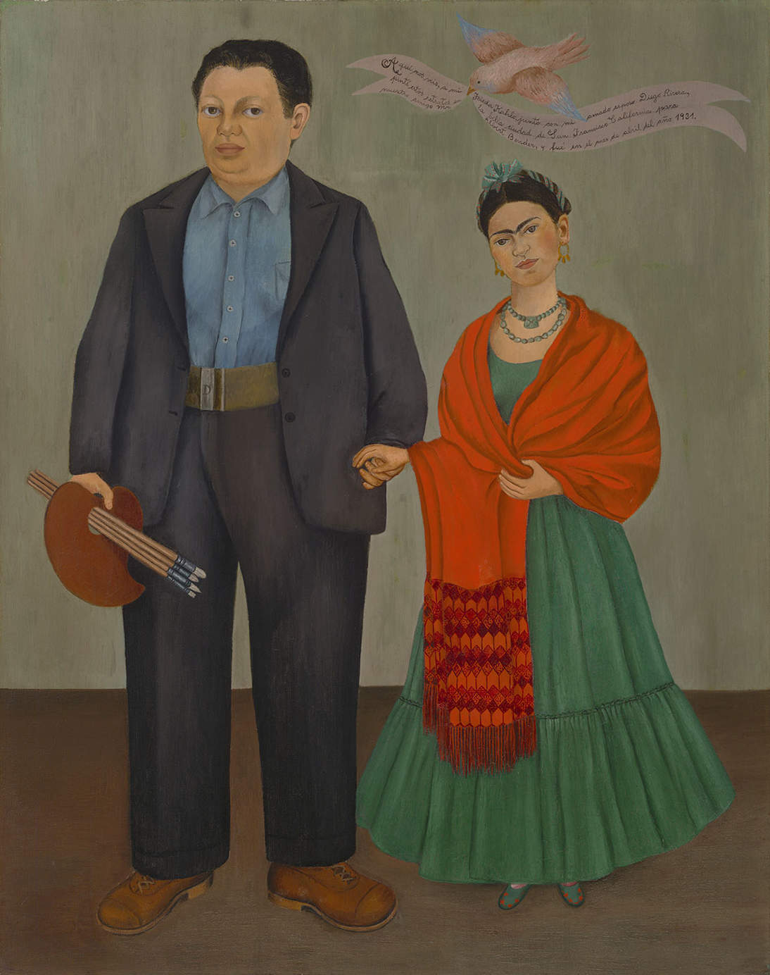 "Frida Kahlo, ""Frieda and Diego Rivera,"" 1931. Oil on canvas, 39 3/8 x 31 in. (100 x 78.7 cm). Collection SFMOMA, Albert M. Bender Collection, gift of Albert M. Bender © 2020 Banco de México Diego Rivera & Frida Kahlo Museums Trust. Av. 5 de Mayo No. 2, Col. Centro, alc. Cuauhtémoc, C.P. 06000, Mexico City. Artist Rights Society (ARS), New York, photo: Ben Blackwell"