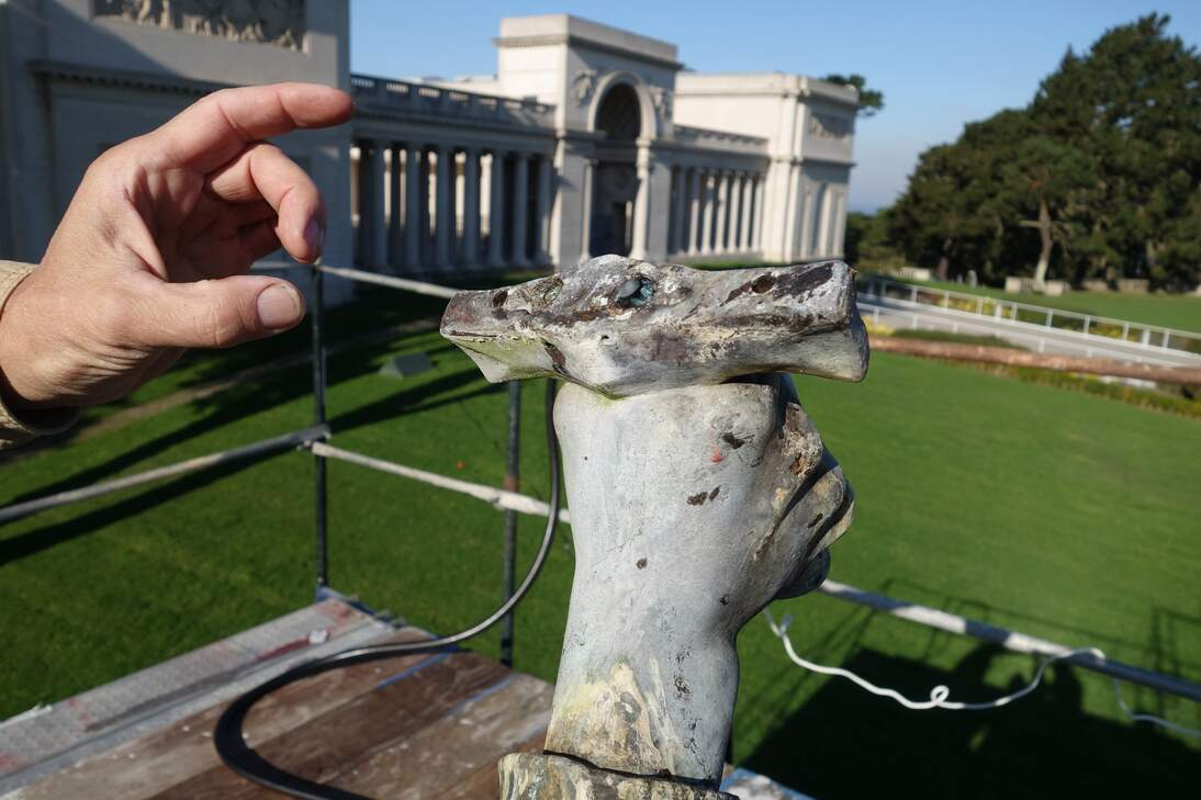 Joan of Arc. Remaining hilt of the sculpture's sword, prior to conservation.