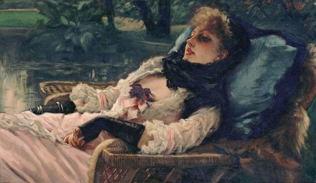 """Summer Evening,"" 1881–1882. also known as ""The Dreamer."" Oil on wood panel, 13 3/4 × 23 3/4 in. (34.9 × 60.3 cm). Musée d'Orsay, Paris, Bequest of William Vaughan, 1919, RF 2254. © RMN-Grand Palais / Art Resource, NY"