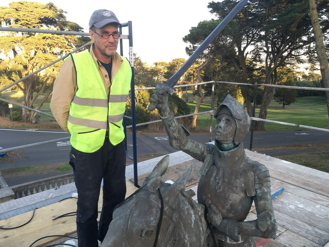 Conservator John Saunders with Joan of Arc