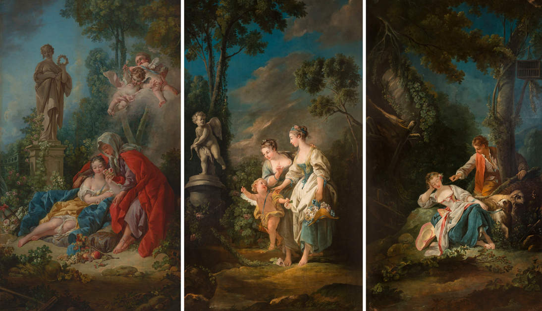 """Vertumnus and Pomona"" with two of its associated paintings (the fourth painting's location is unknown): ""Evening"" and ""Love's Offering,"" both of Casa Labia, Muizenberg, South Africa. Photographs © Michael Hall Photography"