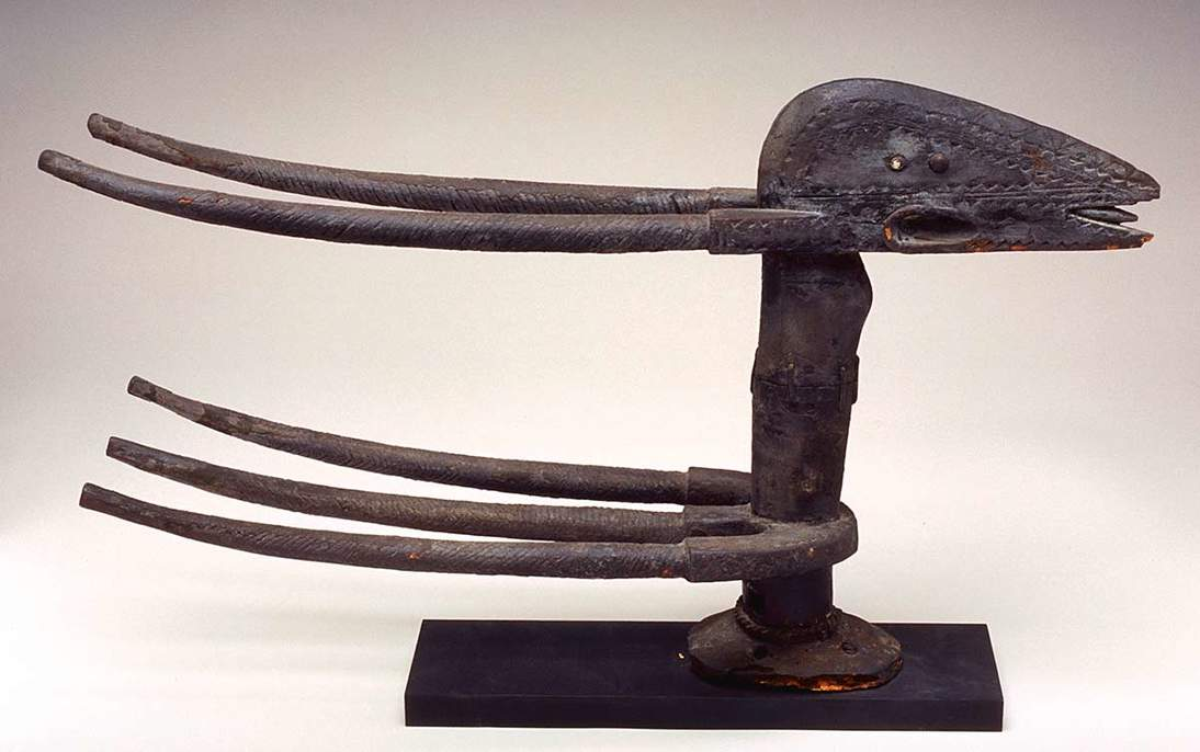 Antelope headdress, early 20th century. Mali, Bamana people. Wood, metal, 16 1/4 x 6 11/16 x 28 3/4 in. Fine Arts Museums of San Francisco, Gift of Professor Erle Loran, 1991.90