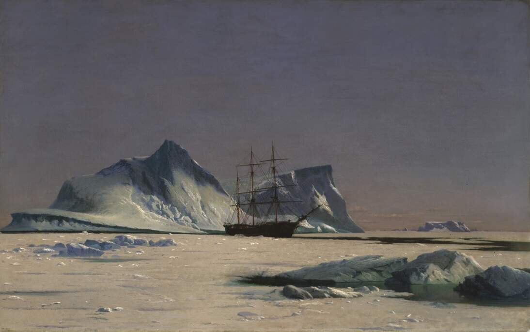 "William Bradford, ""Scene in the Arctic,"" ca. 1880. Oil on canvas, 29 5/8 x 47 5/8 in. (75.2 x 121 cm). Fine Arts Museums of San Francisco, Gift of Agnes van Eck Reed, 1991.39"