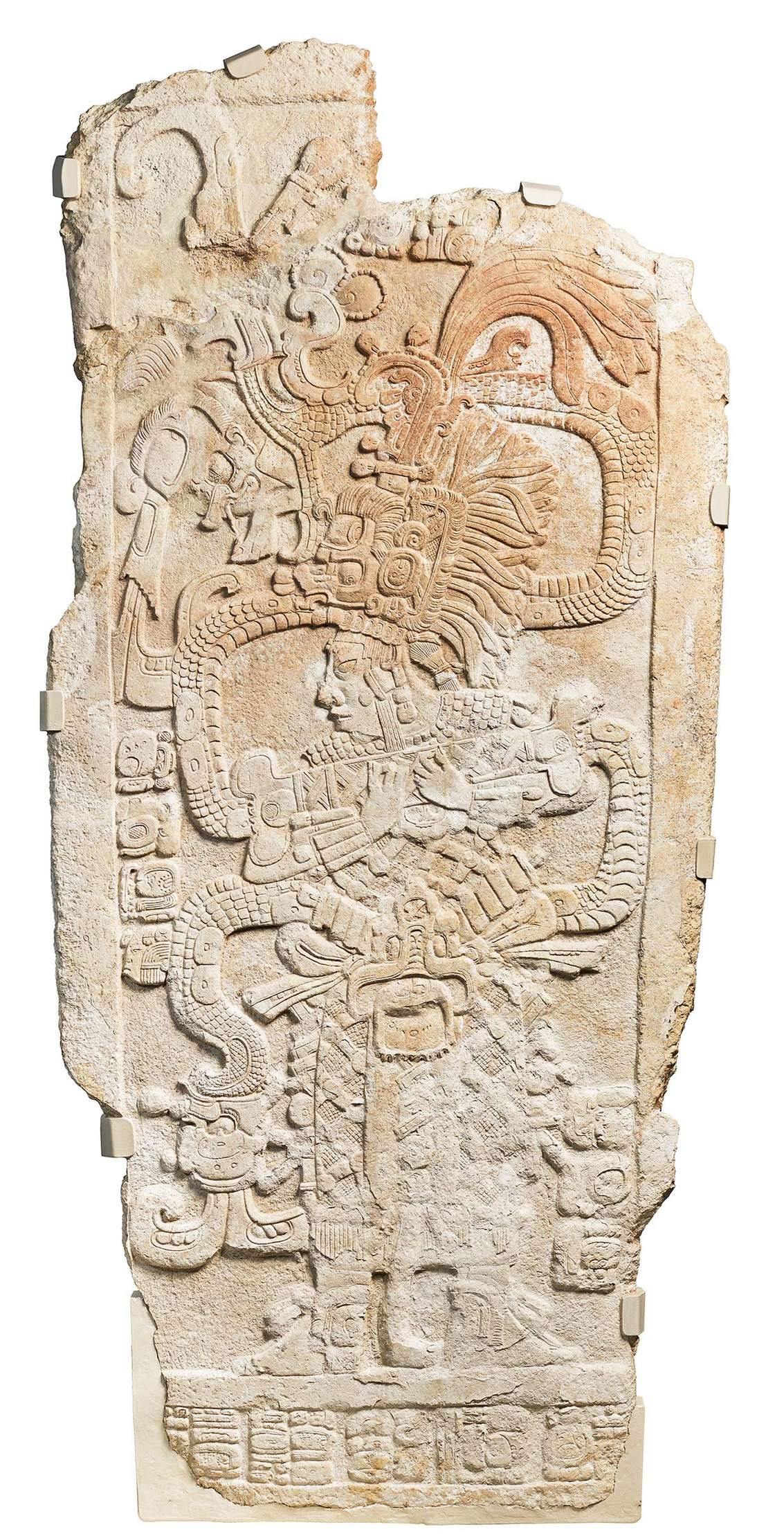 Stela with Queen Ix Mutal Ahaw, 761 AD. Mexico or Guatemala, southern lowlands. Limestone, 92 x 45 x 3 in. (233.7 x 114.3 x 7.6 cm). Fine Arts Museums of San Francisco, Museum purchase, Gift of Mrs. Paul L. Wattis, 1999.42