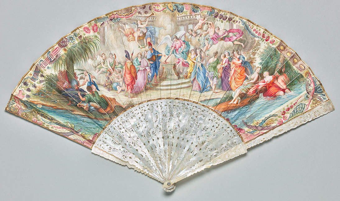 """The Noble Wedding"" fan, 1715–1725  Italy  Vellum, paper, mother-of-pearl, glass jewel, silvered copper alloy; opaque watercolor and gilding, incised and carved sticks and guards, rivet  27.9 cm (11 in.) length; 47.3 cm (18 5/8 in.) width (open)  Gift of Mrs. Reginald Rives   1978.10.5a"
