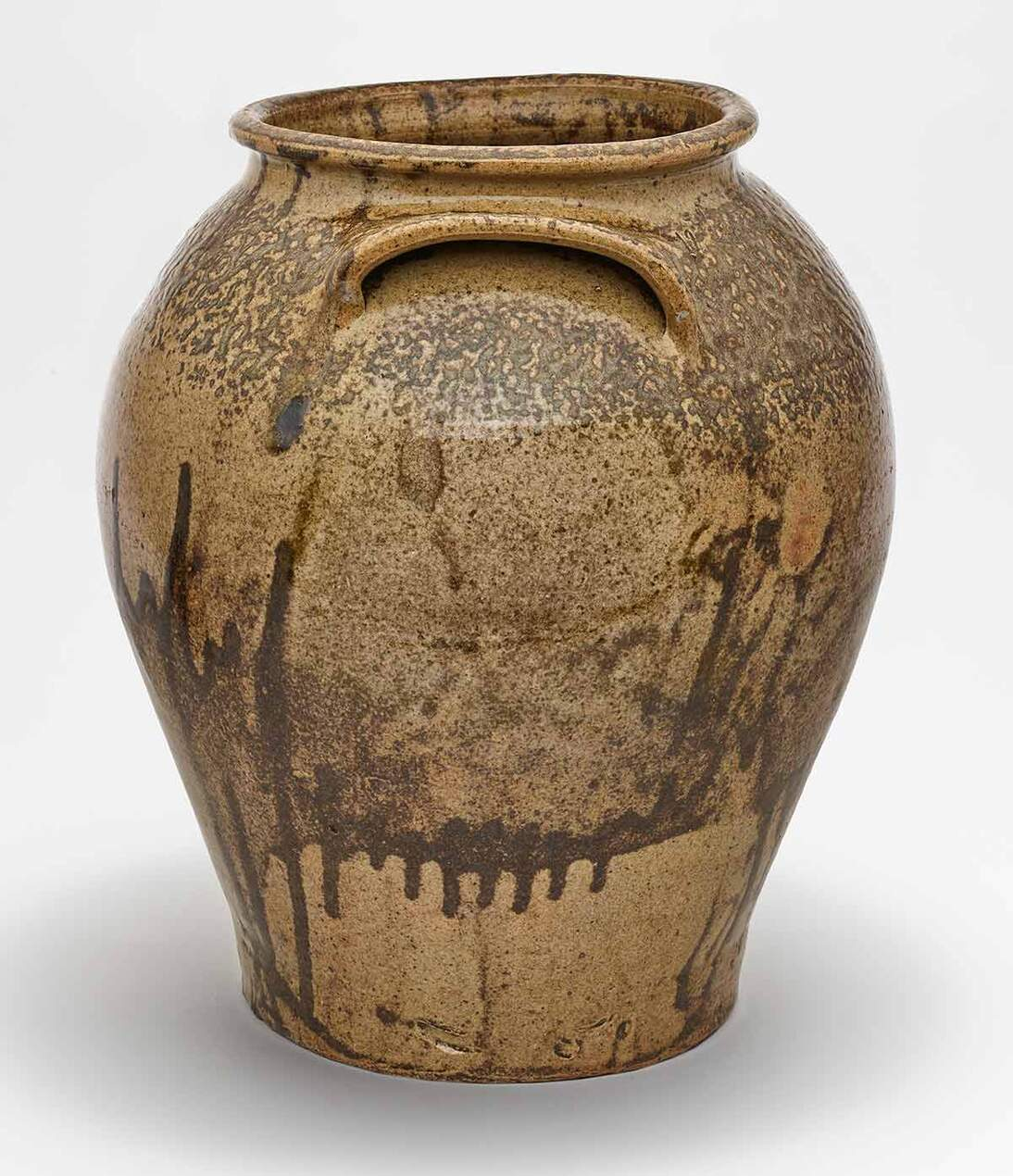 "David Drake (ca. 1800–ca. 1870s) artist; Pottersville Stoneware Manufactory, Edgefield District, South Carolina, manufacturer, ""Catination"" Storage Jar, April 12, 1836. Glazed stoneware, height: 14 7/8 in. (37.8 cm); diameter: 12 5/8 in. (32.1 cm). Museum purchase, Calvin L. Malone American Arts and Crafts Fund, American Art Trust Fund, and American Decorative Arts Endowment Income Fund, 2020.57"