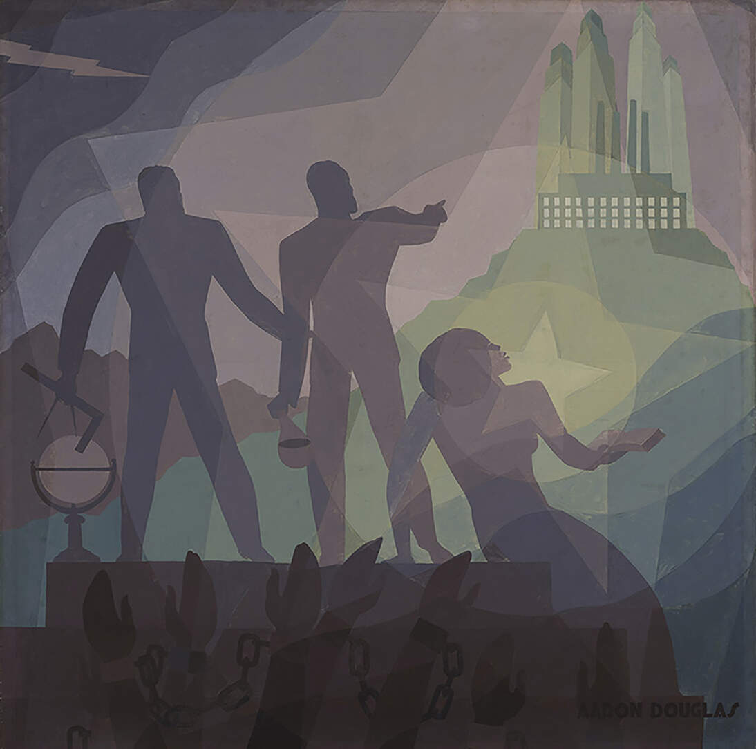 "One artwork chosen by the teens for their podcast: Aaron Douglas, ""Aspiration,"" 1936."