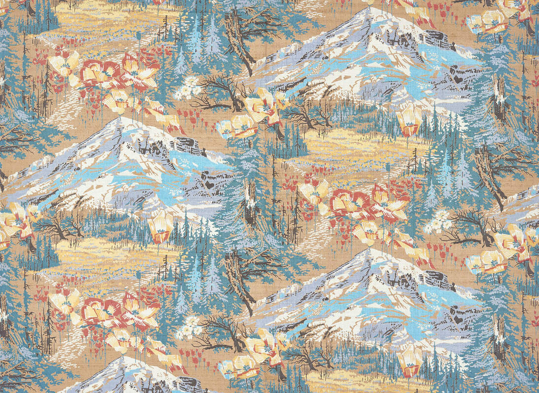 textile with mountains
