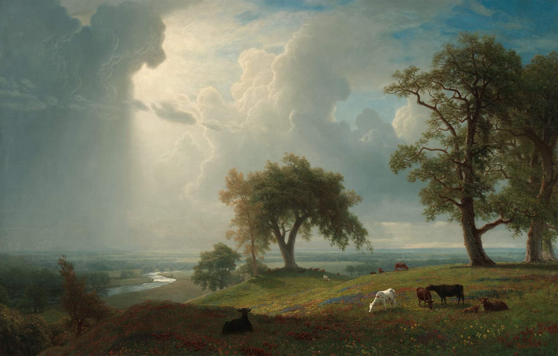 Albert Bierstadt, California Spring (detail), 1875. Oil on canvas, 54 1/4 x 84 1/4 in. (137.8 x 214 cm). Fine Arts Museums of San Francisco, Presented to the City and County of San Francisco by Gordon Blanding, 1941.6