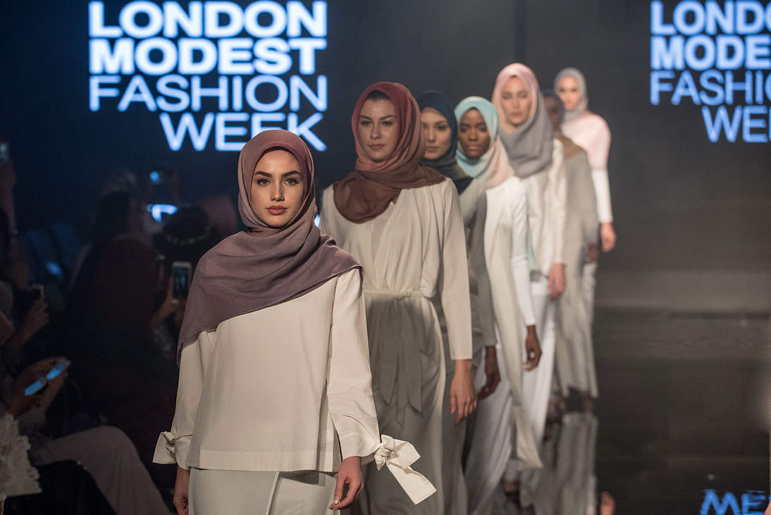 Aidijuma's Spring/ Summer hijab collection featured at Modanisa London Modest Fashion Week, April 15, 2017. Photo by Rooful Ali/ Rooful.com
