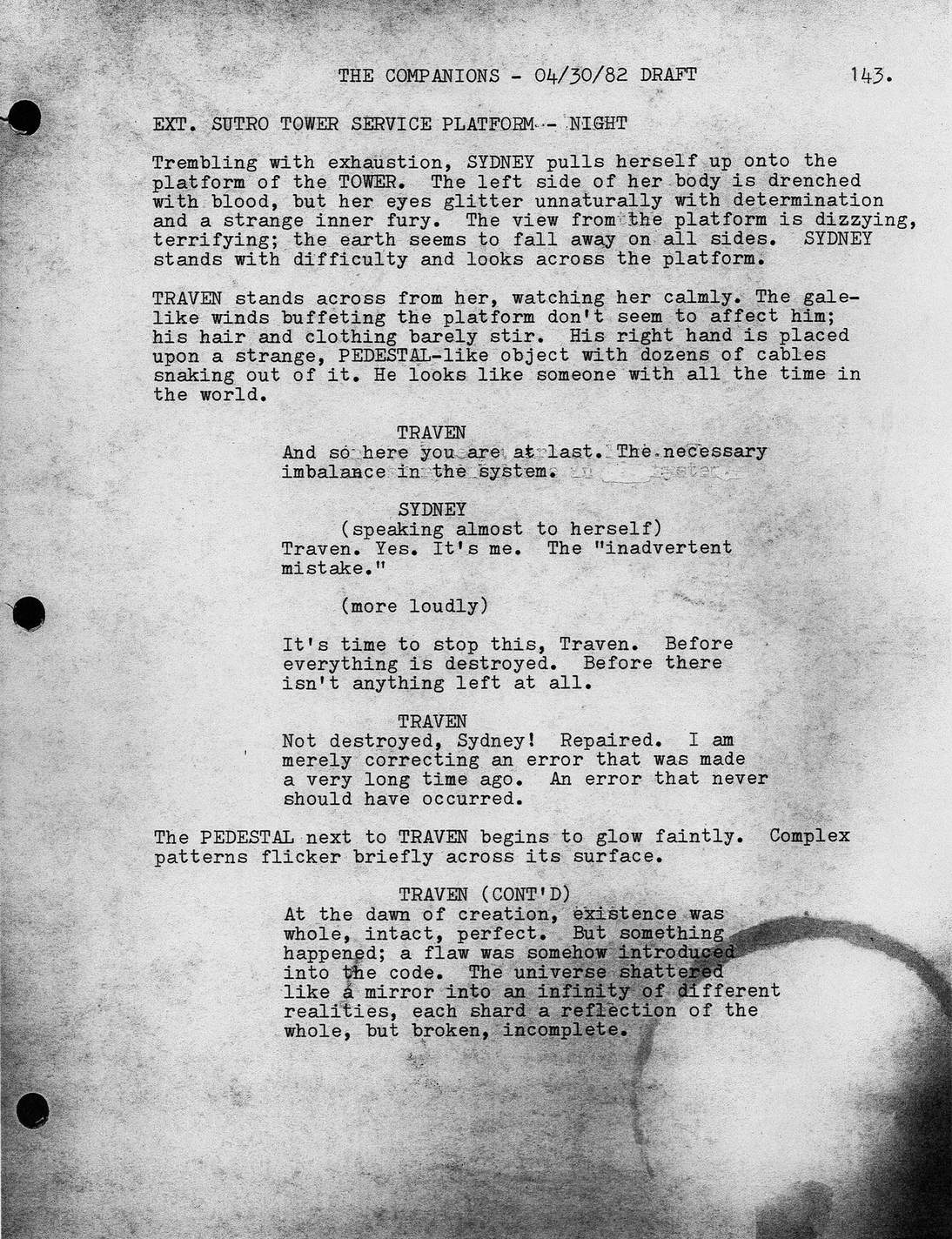 "Page 143 from Carol Montana's final draft of ""The Companions"""