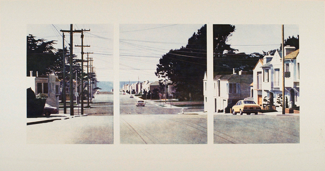 three photos that combined show a street lined by houses and cars