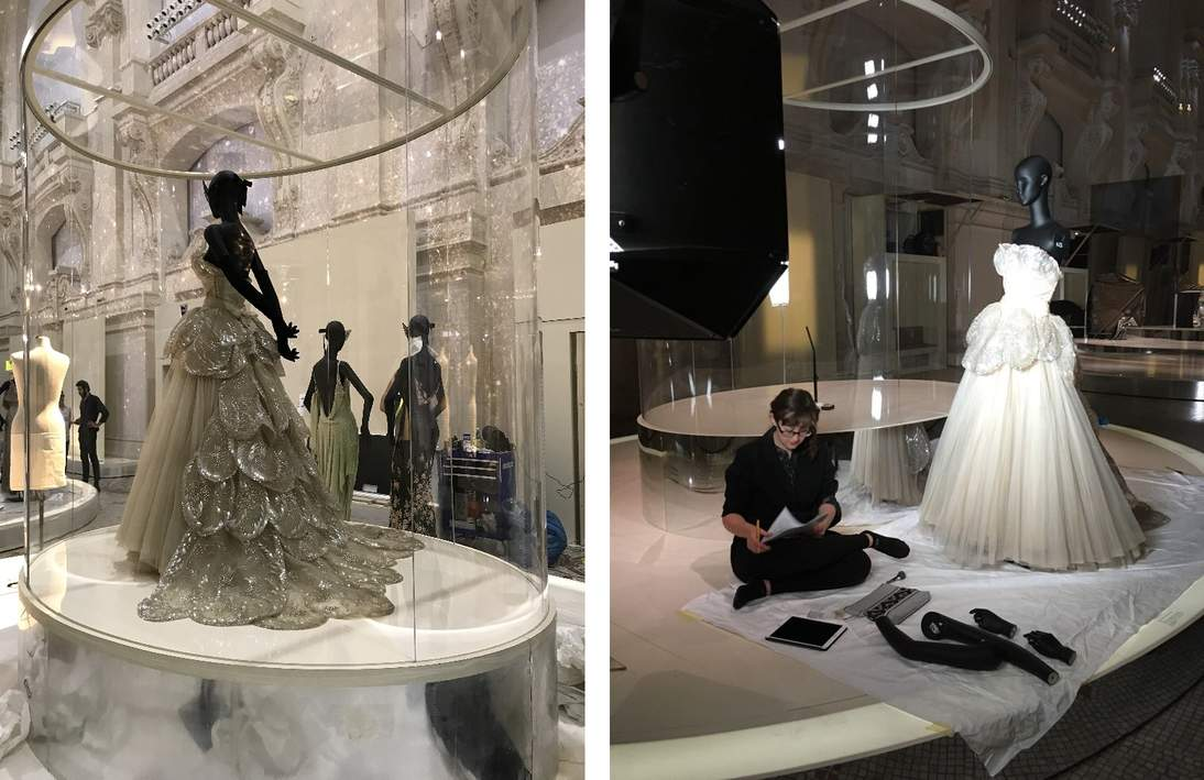"""(L) """"Venus"""" in Paris. (R) The condition of the dress is checked at every stage; here associate conservator Anne Getts documents the condition of the ensemble before it is packed for its return trip to San Francisco."""