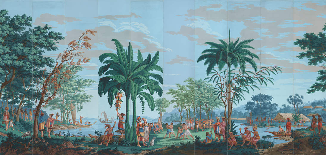"Joseph Dufour, printer, and Jean-Gabriel Charvet, designer, ""Les Sauvages de la Mer Pacifique"" (""Native Peoples of the Pacific Ocean"") (detail), ca. 1804–1806. Block-printed watercolor on paper, each panel: 99 x 211/4 in. (251.5 x 54 cm). Fine Arts Museums of San Francisco, Museum purchase, Gift of Georgia M. Worthington and the Fine Arts Museums Trustees Fund, 77.6.1–20 (panels 8 and 16 reproductions by Garth Benton)"
