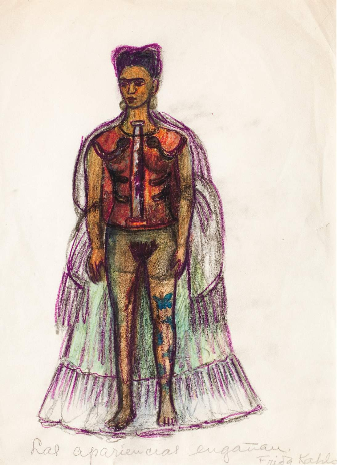 """Frida Kahlo, """"Appearances Can Be Deceiving,"""" no date. Charcoal and pencil on paper, 11 ⅜ x 8 ¼ in. (29 x 21 cm). Museo Frida Kahlo © 2020 Banco de México Diego Rivera & Frida Kahlo Museums Trust. Av. 5 de Mayo No. 2, Col. Centro, alc. Cuauhtémoc, C.P. 06000, Mexico City / Artists Rights Society (ARS), New York"""