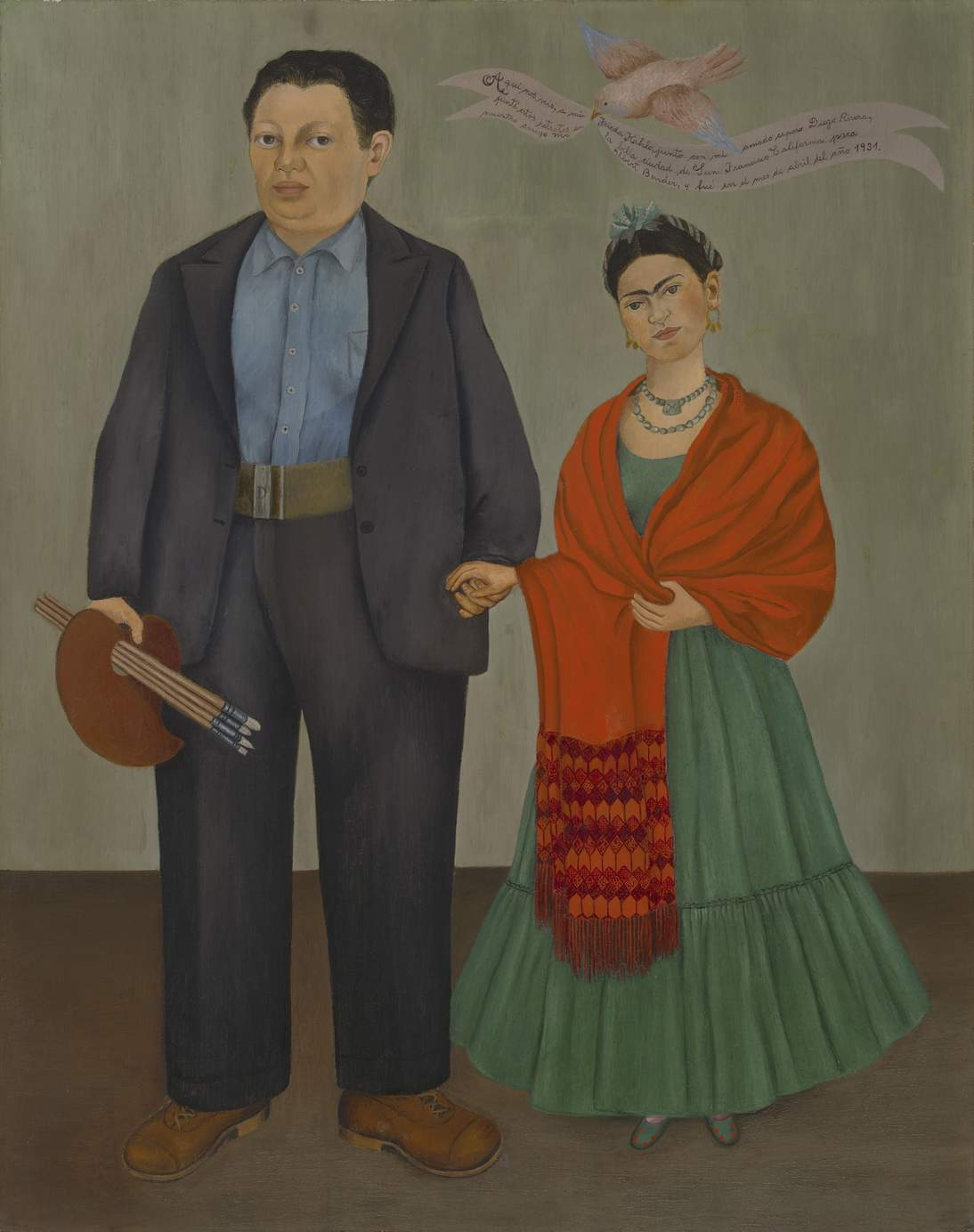 "Frida Kahlo, ""Frieda and Diego Rivera,"" 1931. Oil on canvas, 39 3/8 x 31 in. (100 x 78.7 cm). San Francisco Museum of Modern Art, Albert M. Bender Collection, gift of Albert M. Bender © 2020 Banco de México Diego Rivera & Frida Kahlo Museums Trust. Av. 5 de Mayo No. 2, Col. Centro, alc. Cuauhtémoc, C.P. 06000, Mexico City. Artist Rights Society (ARS), New York, photo: Ben Blackwell"