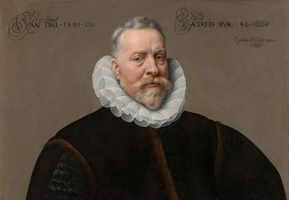 """Frans Pourbus the Younger, """"Portrait of a Man, Aged 56"""" (detail), 1591"""