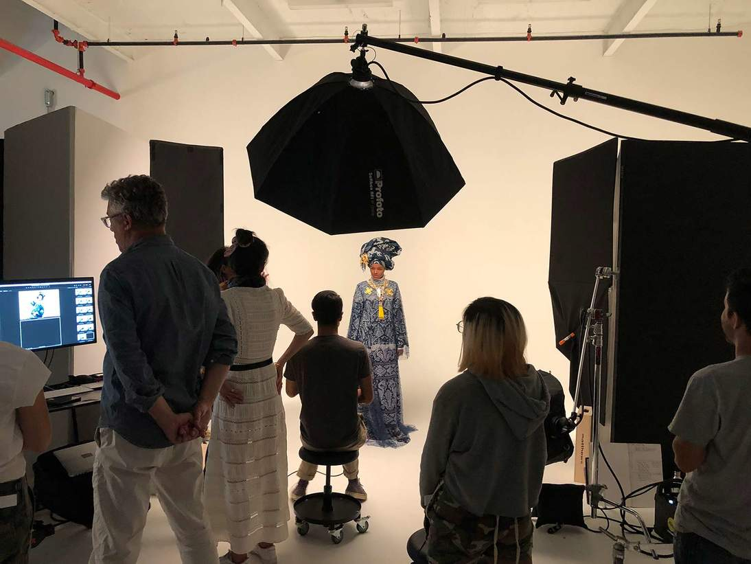 Halima Aden on the set of the shoot