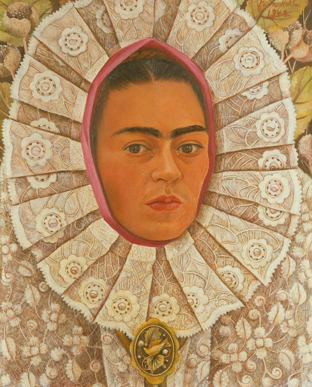 "Frida Kahlo, ""Self-Portrait,"" 1948. Oil on Masonite, 20 x 15.6 in. (50 x 39.5 cm). Private collection © 2020 Banco de México Diego Rivera & Frida Kahlo Museums Trust. Av. 5 de Mayo No. 2, Col. Centro, alc. Cuauhtémoc, C.P. 06000, Mexico City / Artists Rights Society (ARS), New York / Erich Lessing / Art Resource, NY"