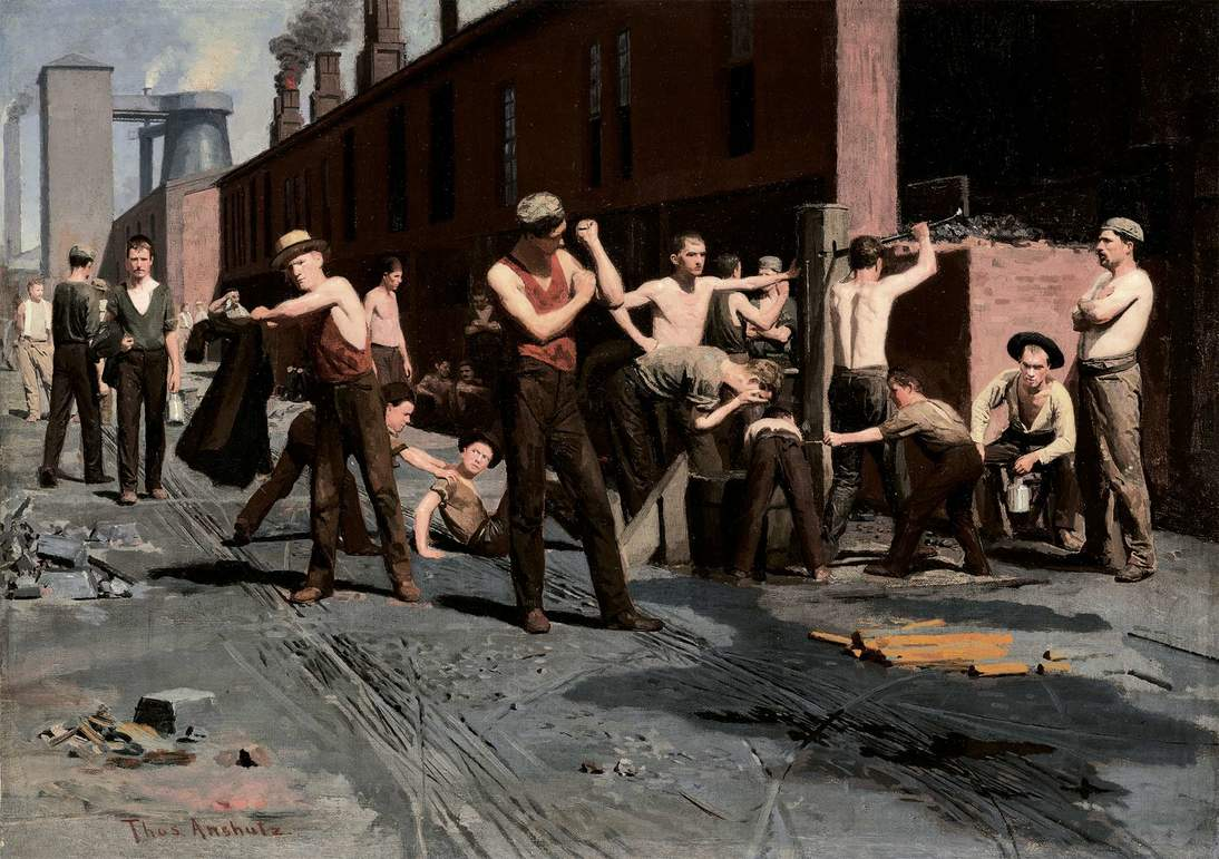 "Thomas Pollock Anshutz, ""The Ironworkers' Noontime"", 1880. Oil on canvas, 17 x 23 7/8 in. (43.2 x 60.6 cm). Fine Arts Museums of San Francisco, Gift of Mr. and Mrs. John D. Rockefeller 3rd. Photo: Randy Dodson"