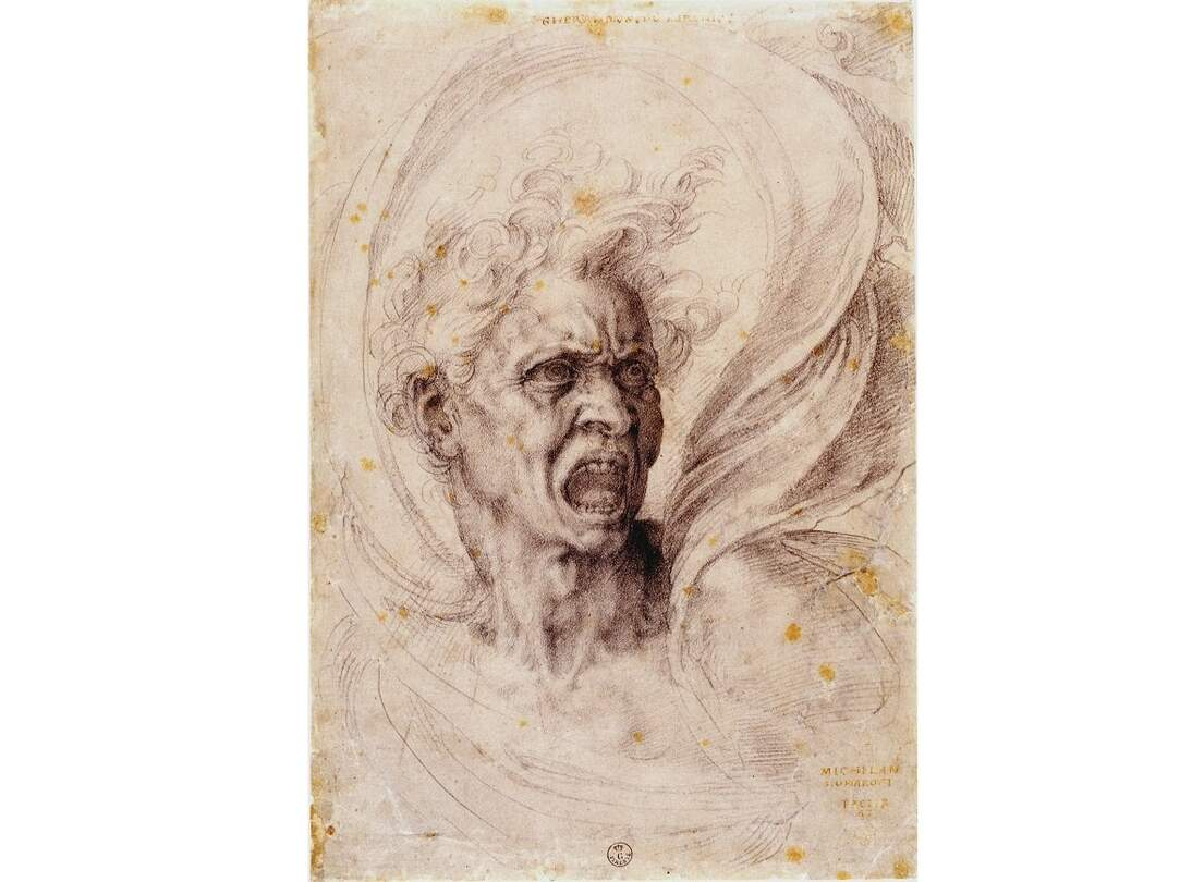 "Michelangelo Buonarroti, ""The Damned Soul,"" c. 1525"