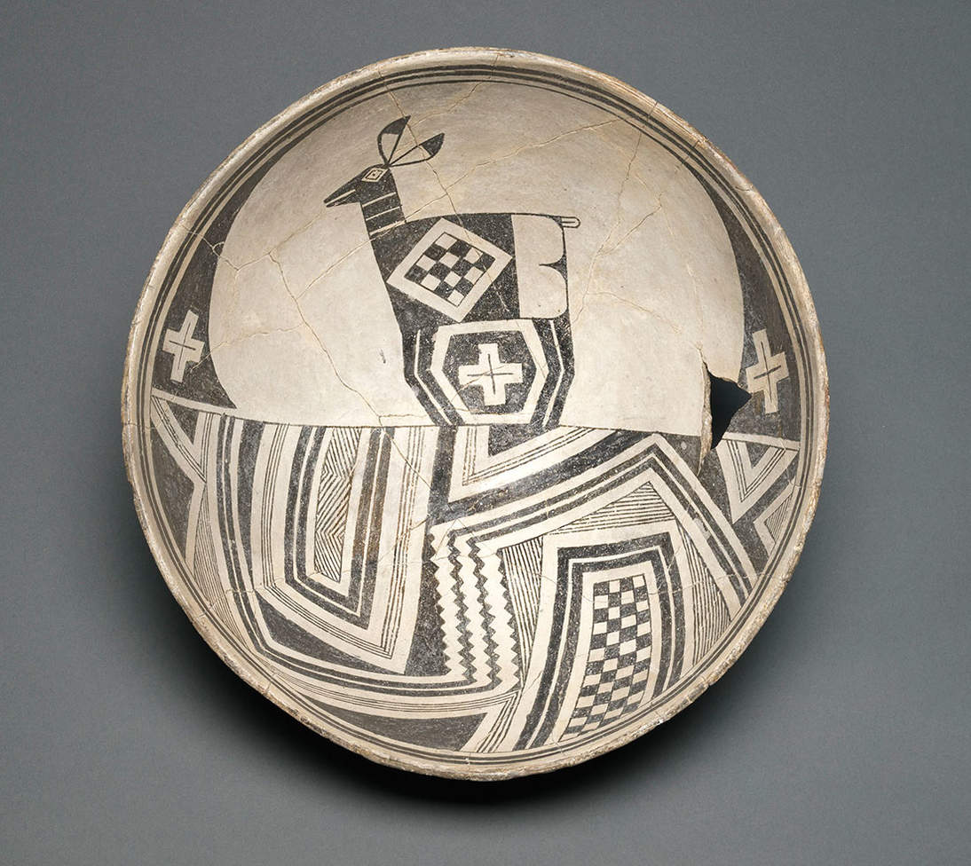 Bowl with deer and geometric landscape. Mimbres artist, New Mexico, United States, ca. 1110–1150. Earthenware and pigment. Diameter: 10 5/8 in. (27 cm). Fine Arts Museums of San Francisco, Gift of the Thomas W. Weisel Family, 2013.76.168