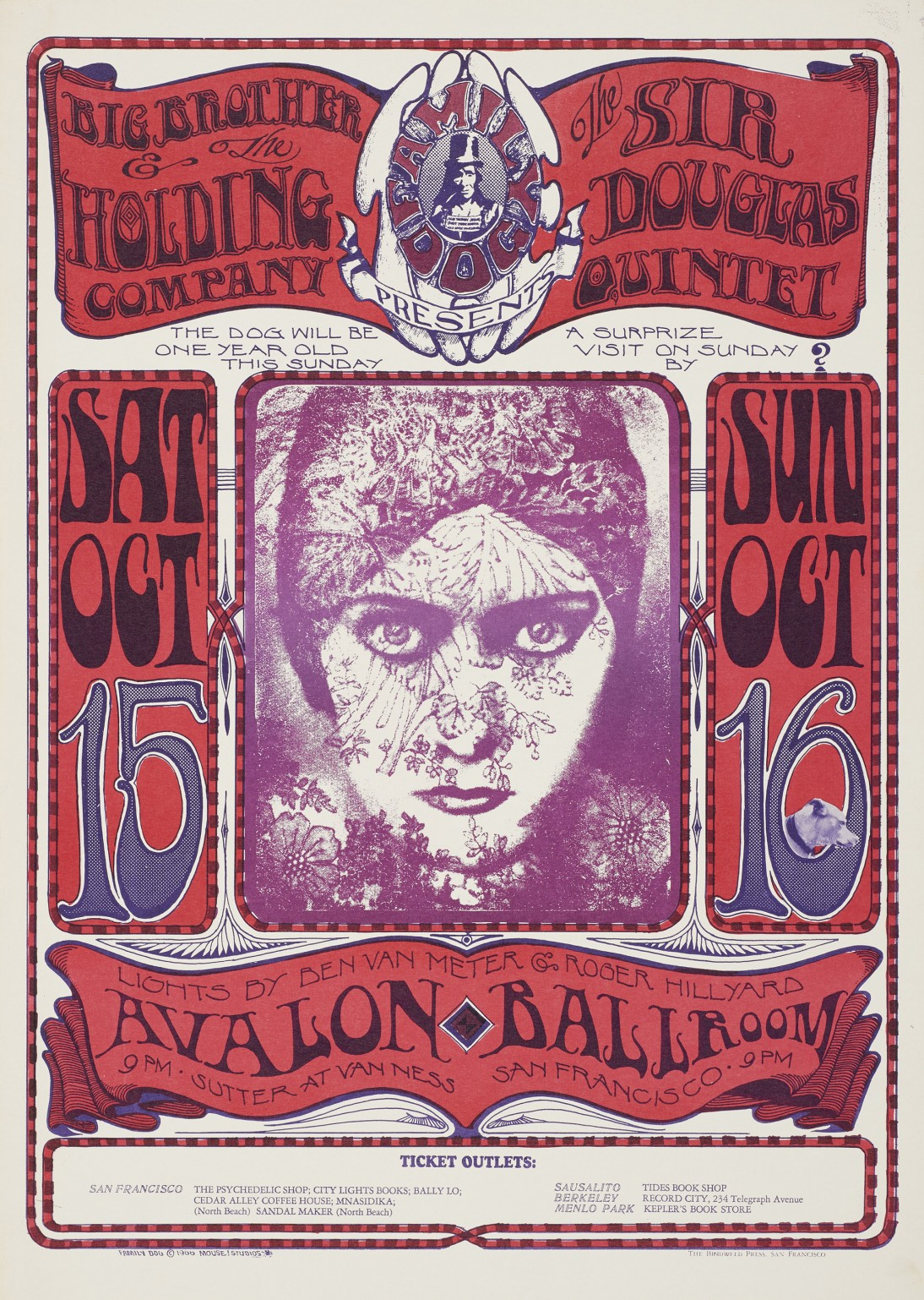 "Stanley Mouse and Alton Kelley, ""'Gloria Swanson,' Big Brother and the Holding Company, Sir Douglas Quintet, October 15 & 16, Avalon Ballroom,"" 1966"