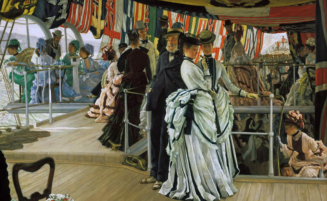 """""""The Ball on Shipboard"""" (detail), ca. 1874. Oil on canvas, 33 1/8× 51 in. (84.1 × 129.5 cm). Tate, London, Presented by the Trustees of the Chantrey Bequest, 1937, N04892"""