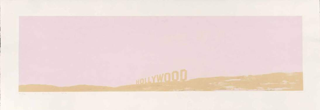 """Ed Ruscha, """"Pepto - Caviar Hollywood,"""" 1970. Color screenprint on copperplate deluxe paper; torn and deckle edges, sheet: 14 7/8 x 42 1/2 in. (37.8 x 108 cm); image: 10 1/16 x 37 5/8 in. (25.6 x 95.5 cm). Fine Arts Museums of San Francisco, Museum purchase, Mrs. Paul L. Wattis Fund, 2000.131.37.1. © Ed Ruscha"""