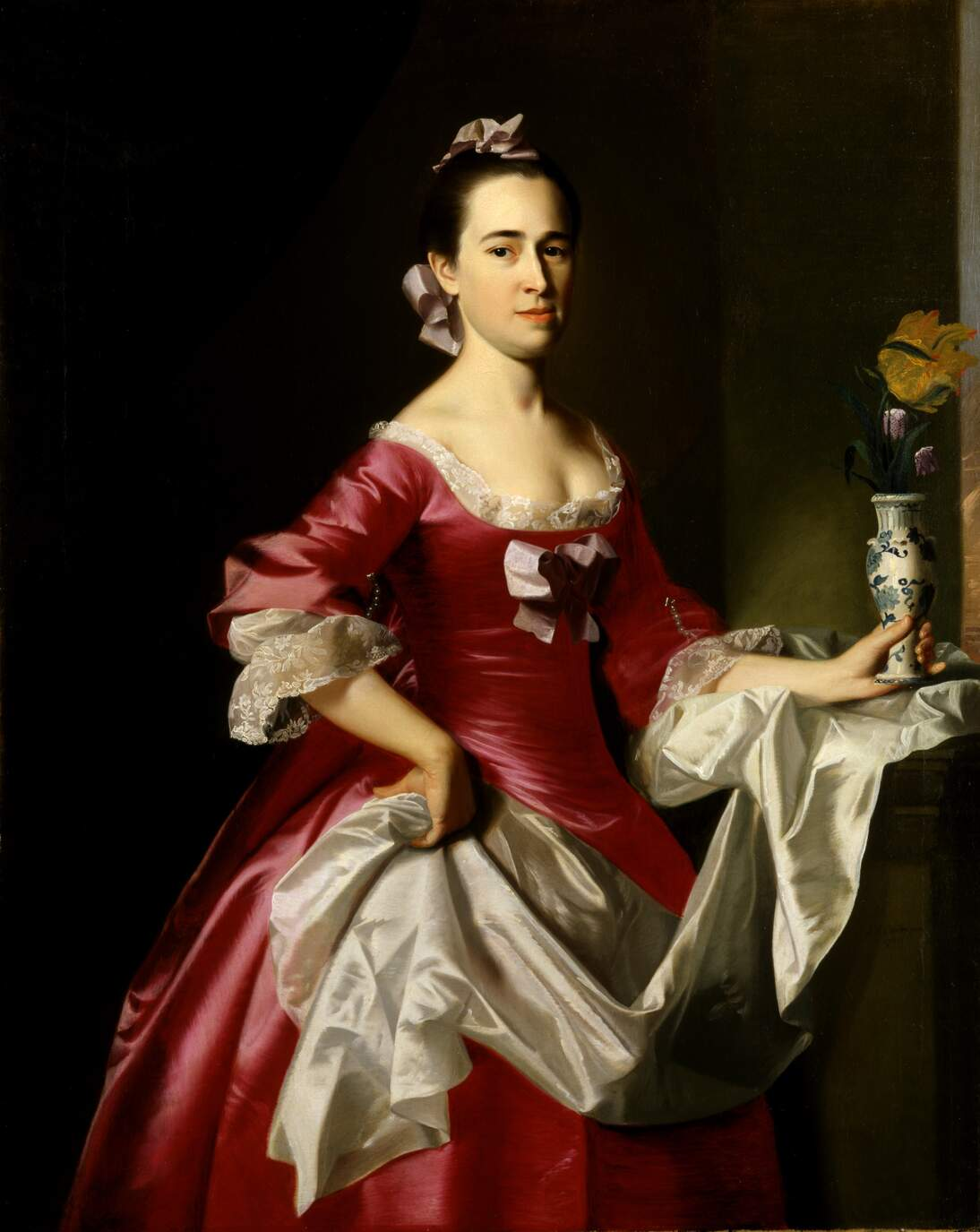 "John Singleton Copley, ""Mrs. George Watson,"" 1765. Oil on canvas, 49 7/8 x 40 in. (126.7 x 101.6 cm). Smithsonian American Art Museum, Partial gift of Henderson Inches, Jr., in honor of his parents, Mr. and Mrs. Inches, and museum purchase made possible in part by Mr. and Mrs. R. Crosby Kemper through the Crosby Kemper Foundation; the American Art Forum; and the Luisita L. and Franz H. Denghausen Endowment, 1991.189. Image courtesy of Smithsonian American Art Museum"