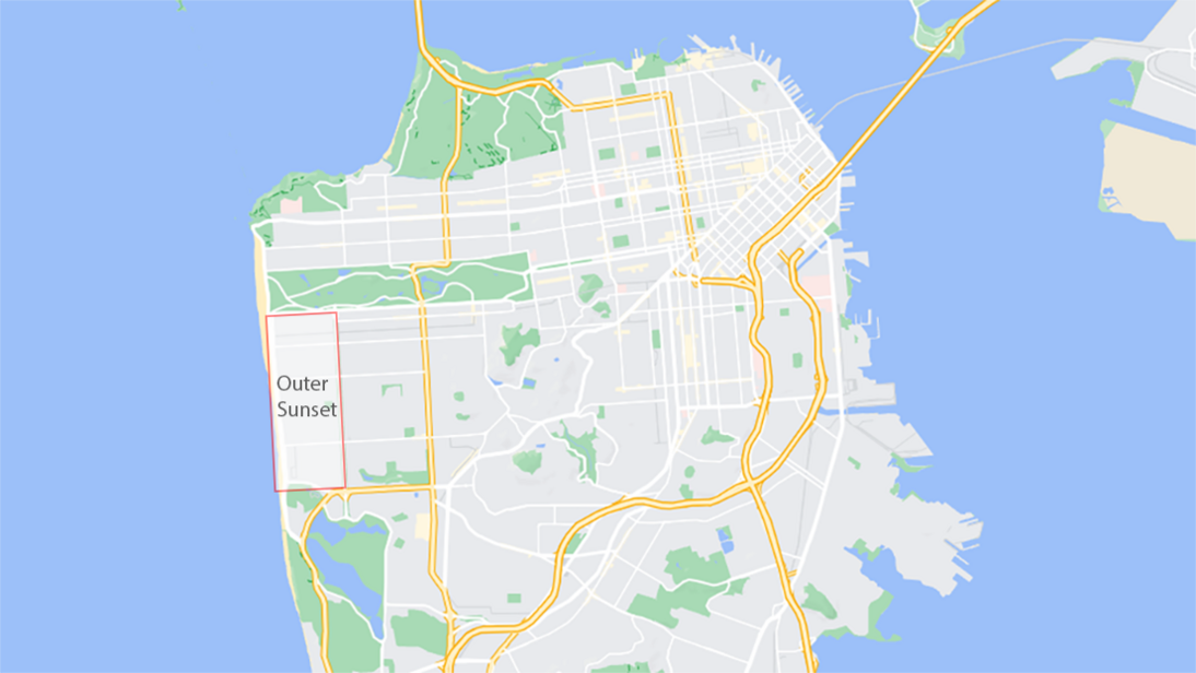 map of san francisco showing outer sunset
