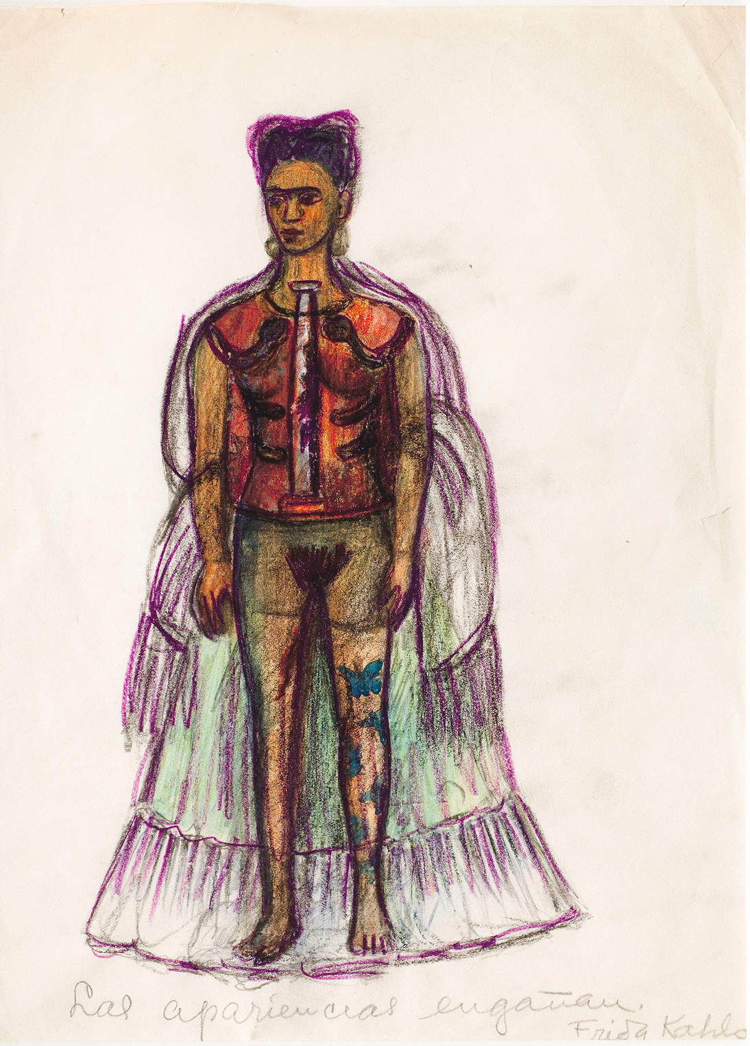 "Frida Kahlo, ""Appearances Can Be Deceiving,"" No date. Charcoal and pencil on paper, 11.4 x 8.3 in.  (29 x 21 cm). Museo Frida Kahlo © 2020 Banco de México Diego Rivera & Frida Kahlo Museums Trust. Av. 5 de Mayo No. 2, Col. Centro, alc. Cuauhtémoc, C.P. 06000, Mexico City / Artists Rights Society (ARS), New York"