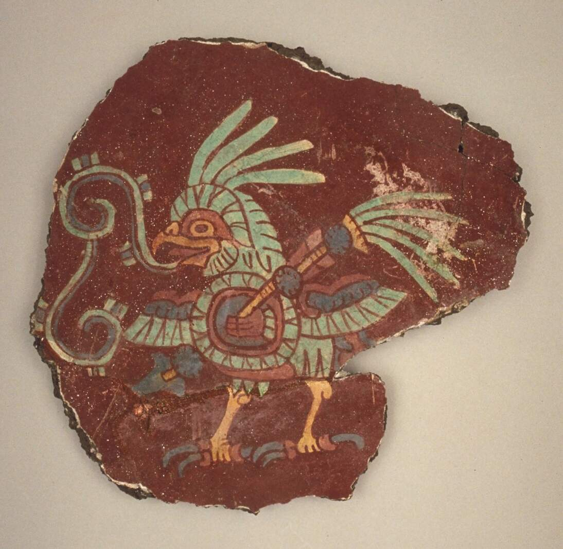 Mural Fragment (Bird with Shield and Spears), 6th century CE. Earthen aggregate, lime plaster and mineral pigments, 11 5/8 x 12 3/8 in. (29.5 x 31.5 cm). Fine Arts Museums of San Francisco, Bequest of Harald J. Wagner, 1985.104.9