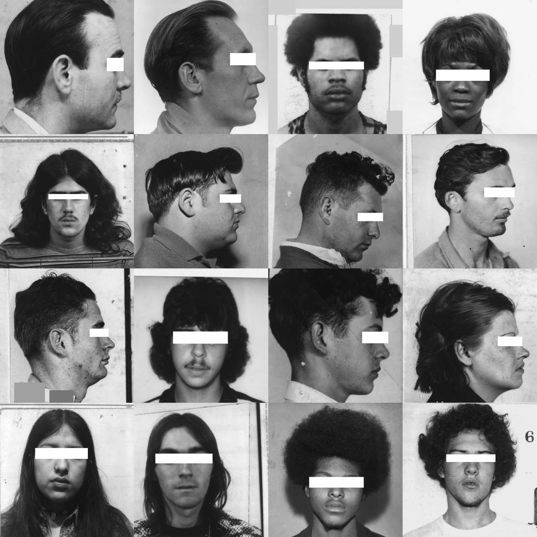 """Trevor Paglen, """"They Took the Faces from the Accused and the Dead . . .(SD18),"""" (detail), 2020. 3,240 silver gelatin prints and pins; dimensions variable. Courtesy of the artist and Altman Siegel, San Francisco]"""
