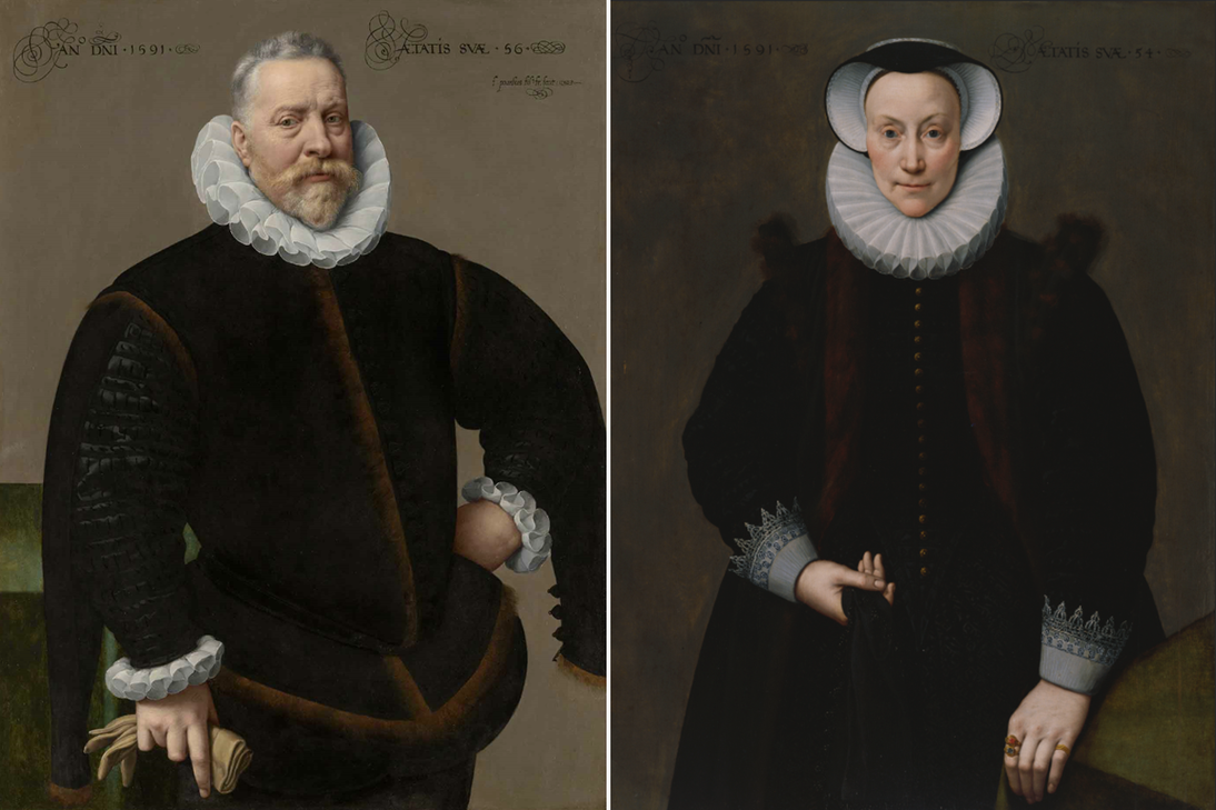 """L: Frans Pourbus the Younger, """"Portrait of a Man, Aged 56,"""" 1591. Oil on panel. Private collection. R: Frans Pourbus the Younger, """"Portrait of a Woman, Aged 54,"""" 1591. Oil on panel. Fine Arts Museums of San Francisco, Museum purchase, Roscoe and Margaret Oakes Income Fund, 1985.12"""